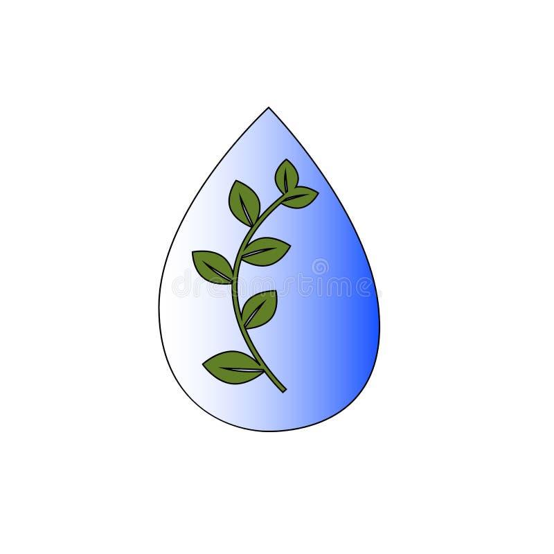 Wodna kropla z liÅ›ciem wÅ›rodku ilustracja wektor