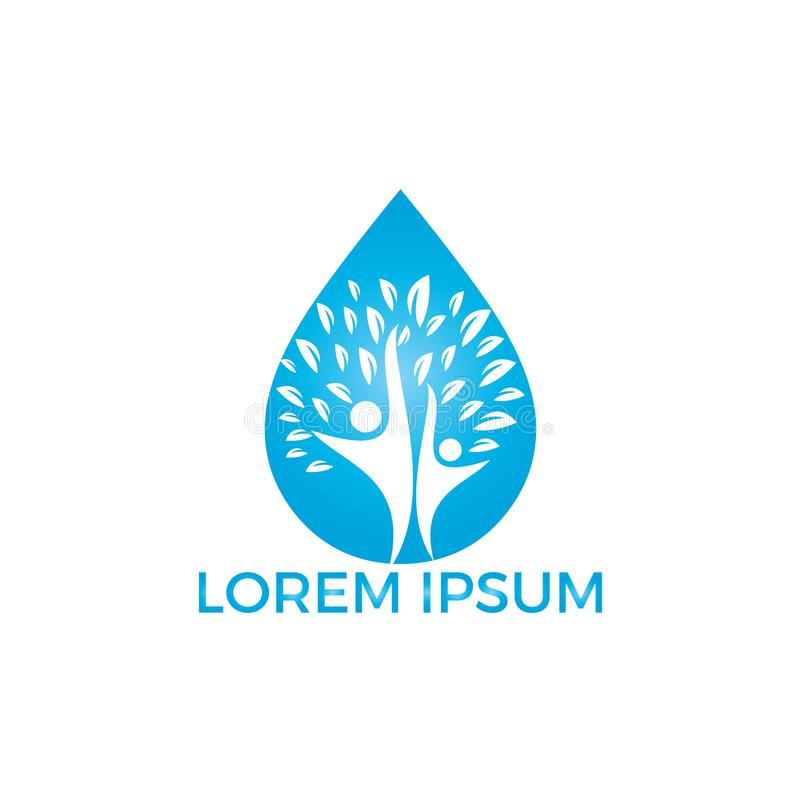 Wodna kropla z ludzkiej drzewnej ikony logo wektorowym projektem ilustracja wektor
