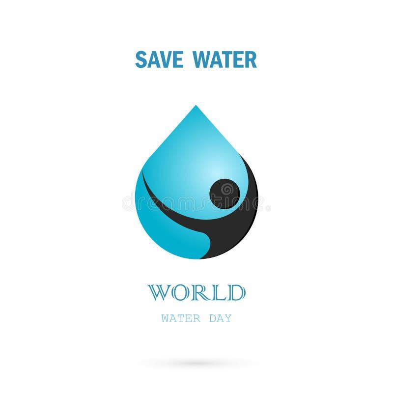 Wodna kropla z ludzkiej ikony loga projekta wektorowym szablonem Światowy Wat royalty ilustracja
