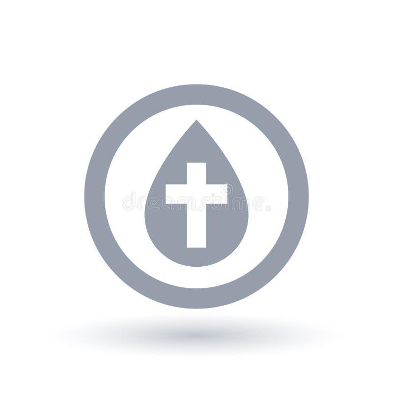 Wodna kropla z przecinającym symbolem Chrzczenie ikona Chrzci znaka ilustracja wektor