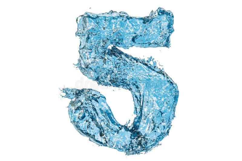 Wodna liczba 5, 3D rendering ilustracji