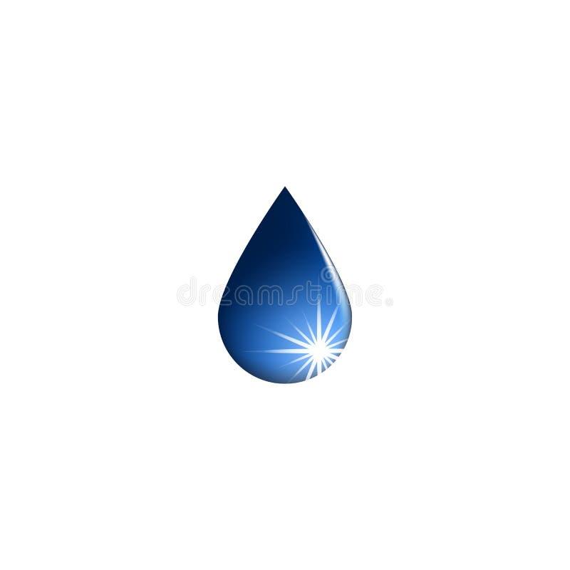 Wodna opadowa ikona, świeży aqua logo odizolowywający, mockup eco błyszczący lekki emblemat ilustracja wektor