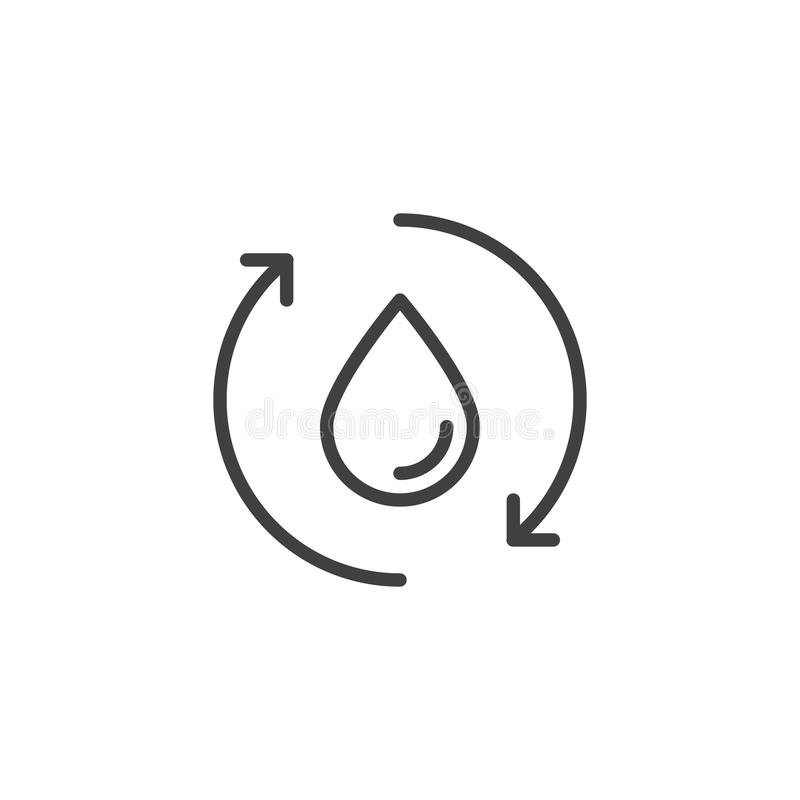 Wodna Opadowa kolarstwo strzała konturu ikona ilustracji