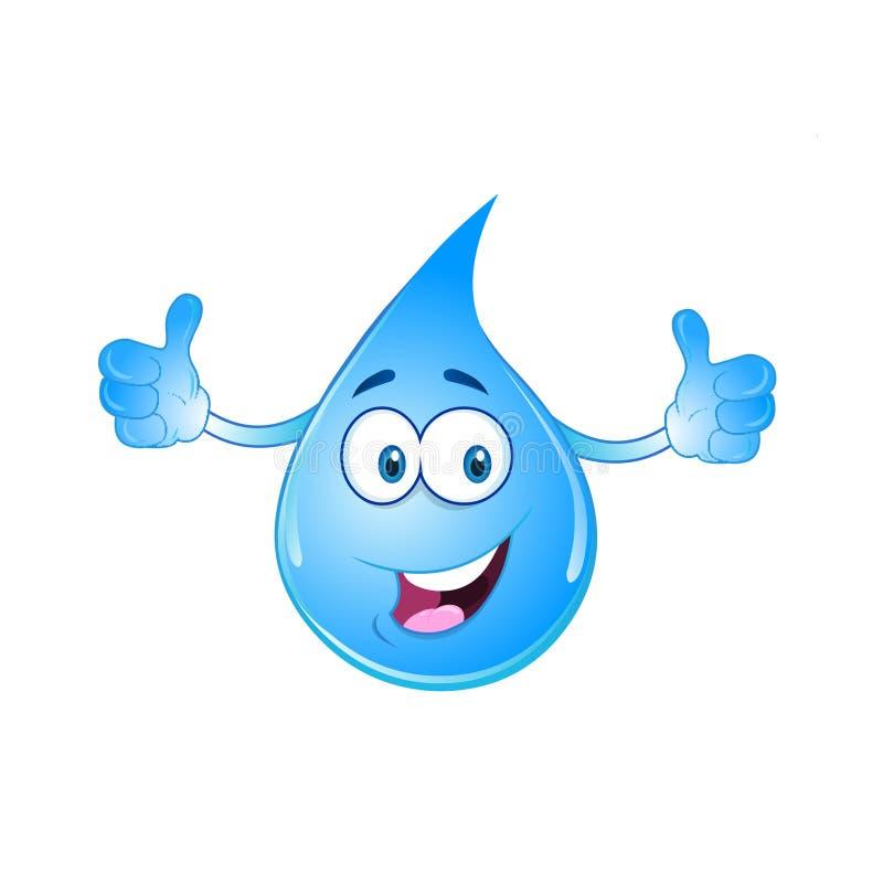 Wodna opadowa kreskówka Postać z kreskówki wody kropla royalty ilustracja