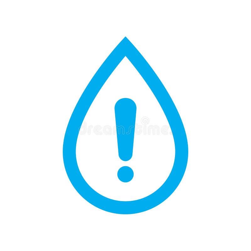 Wodna ostrzegawcza ikona Błękitne wody kropla z ostrożność symbolem royalty ilustracja