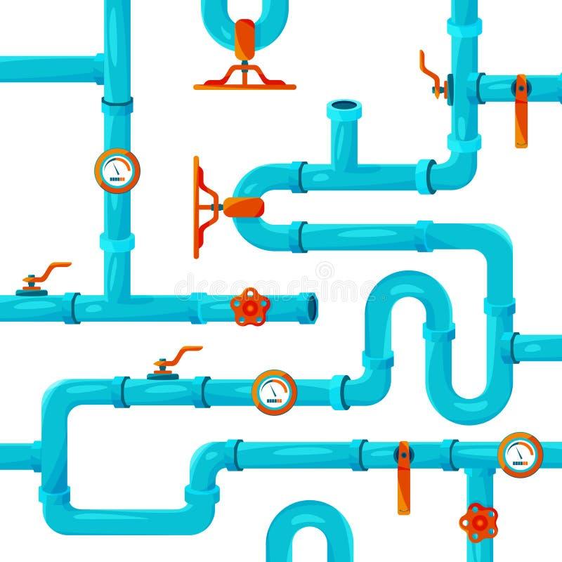 Wodna rurociąg systemu instalacja Wektorowy tło obrazek ilustracja wektor