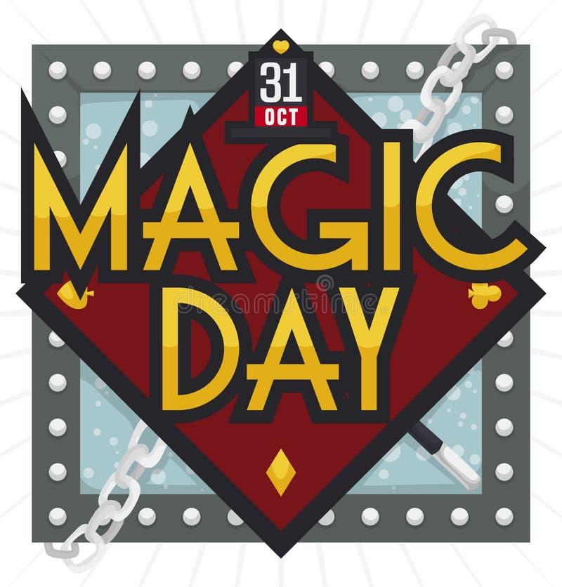 Wodna tortury komórka i Magiczni elementy Świętować Magicznego dzień, Wektorowa ilustracja ilustracja wektor
