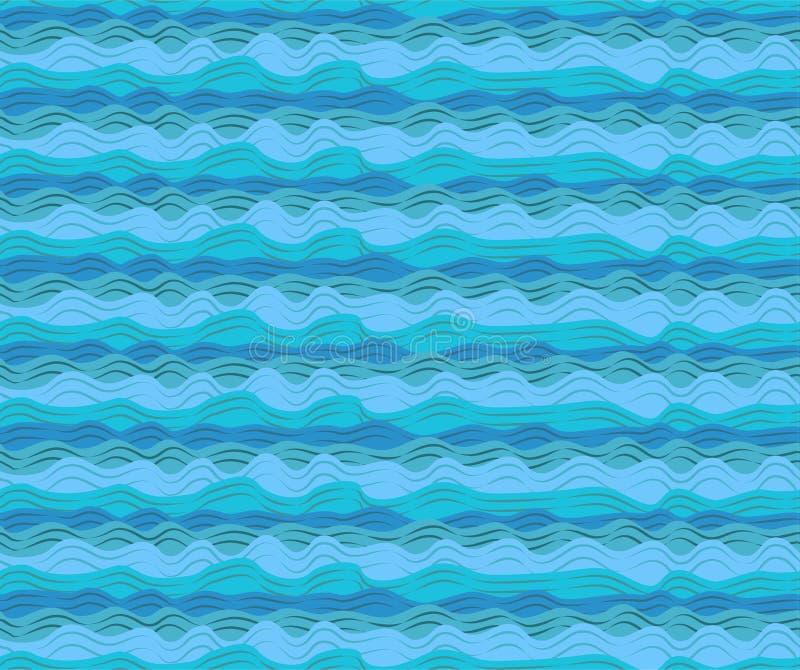 Wodne denne oceanu aqua fala machają błękita deseniowego bezszwowego spokojnego przypływ royalty ilustracja
