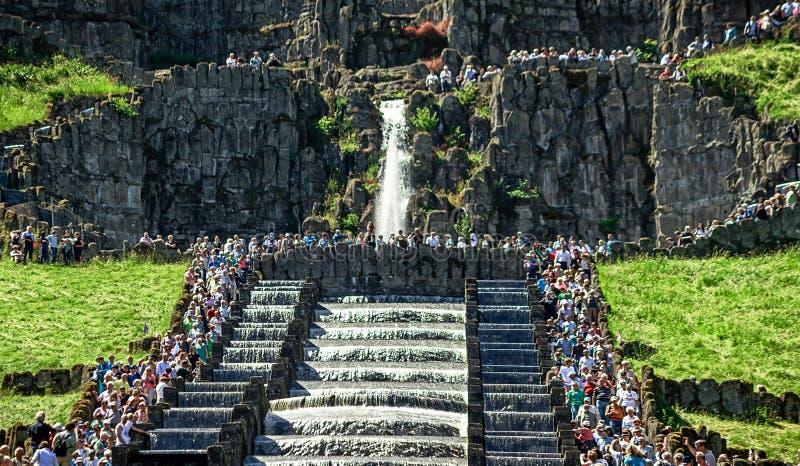 Wodne gry w sławnym Bergpark Kassel Wilhelmshöhe, Niemcy fotografia royalty free