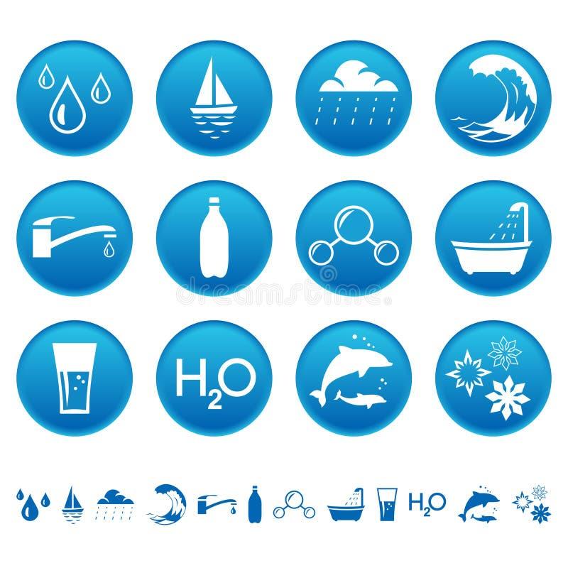 Wodne ikony ilustracji