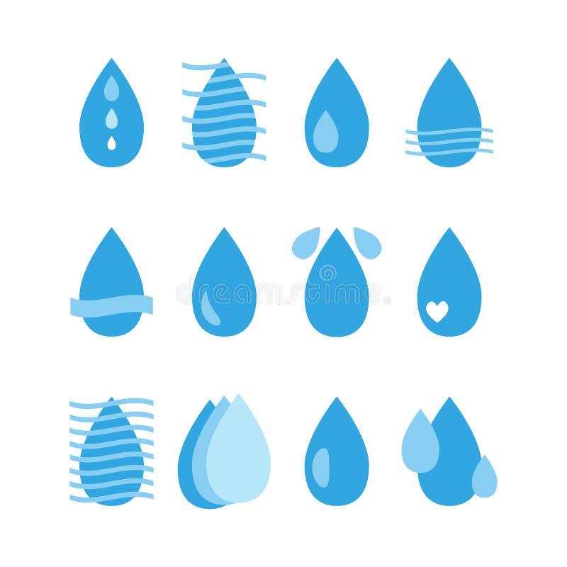 Wodne Opadowe ikony Ustawiać aquaculture Kolekcja wodni projektów elementy royalty ilustracja
