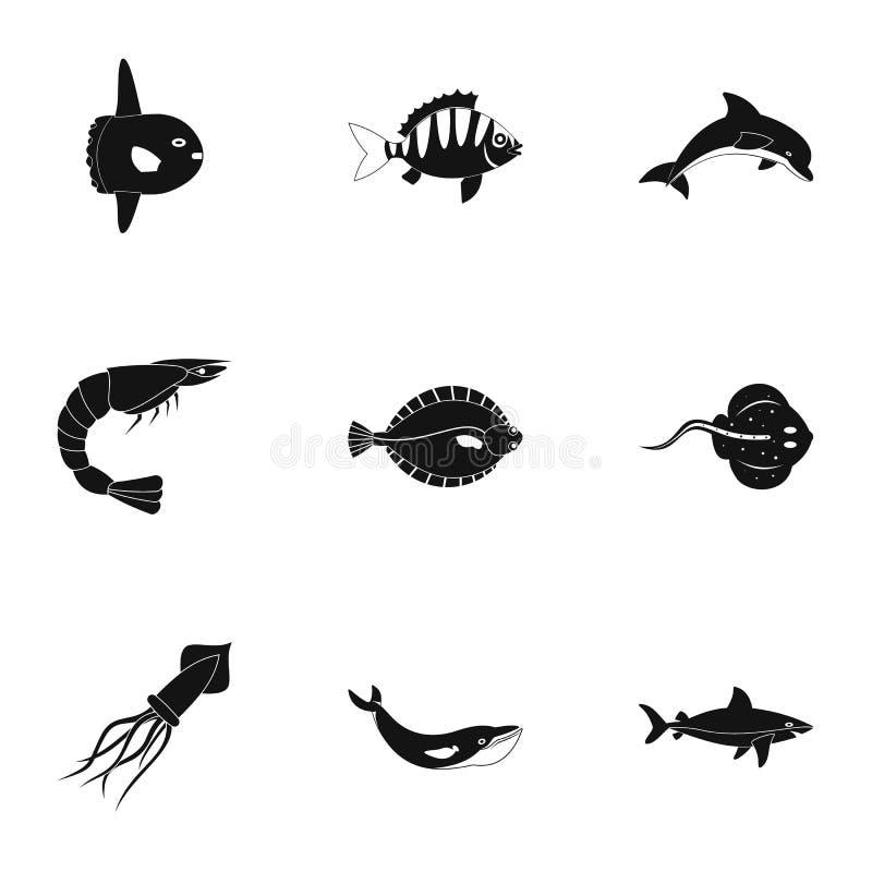 Wodne przyrod ikony ustawiać, prosty styl ilustracji