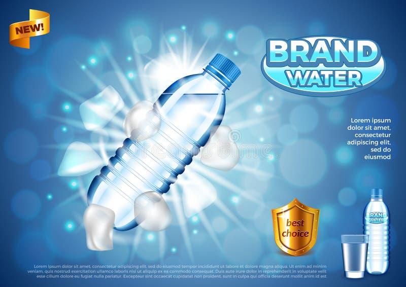Wodne reklamy Plastikowa butelka z kostka lodu wektoru tłem royalty ilustracja