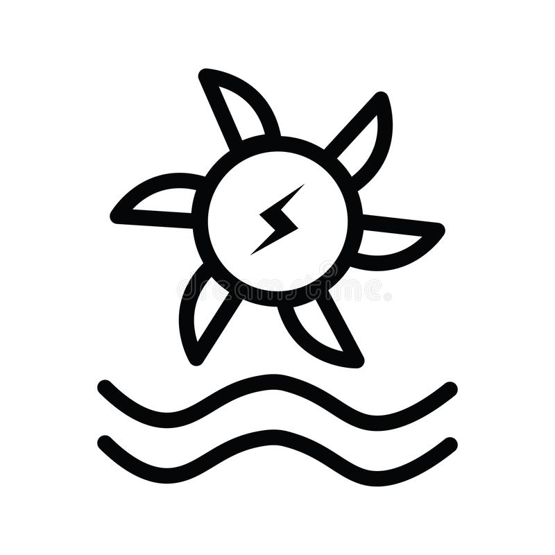 Wodne turbinowe ikony w mieszkaniu i sylwetce projektują ilustracji
