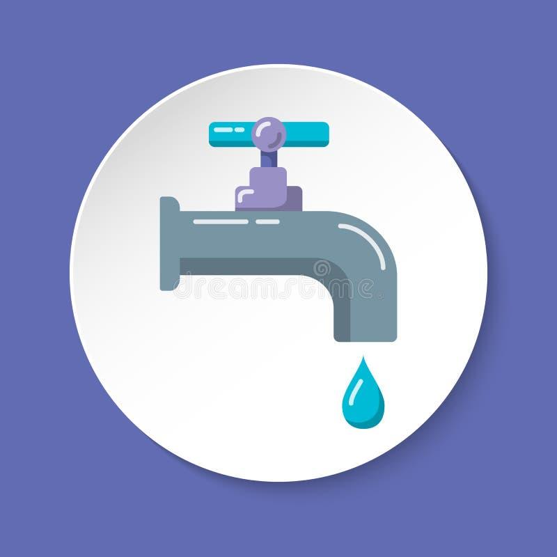 Wodnego klepnięcia ikona w mieszkanie stylu na round guziku ilustracja wektor