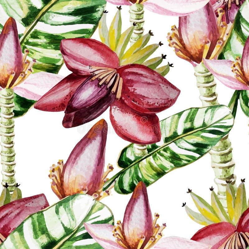 Wodnego koloru wzór z kwiatami i bananów liśćmi ilustracja wektor