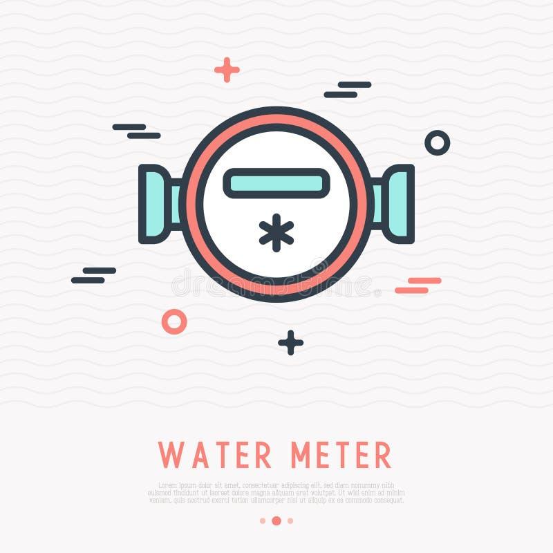 Wodnego metru cienka kreskowa ikona ilustracji