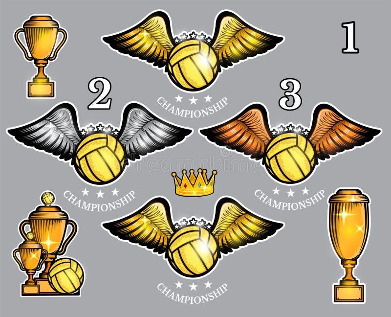 Wodnego polo piłka z skrzydło koroną i filiżankami Wektorowy ustawiający sporta logo dla jakaś drużyny ilustracja wektor