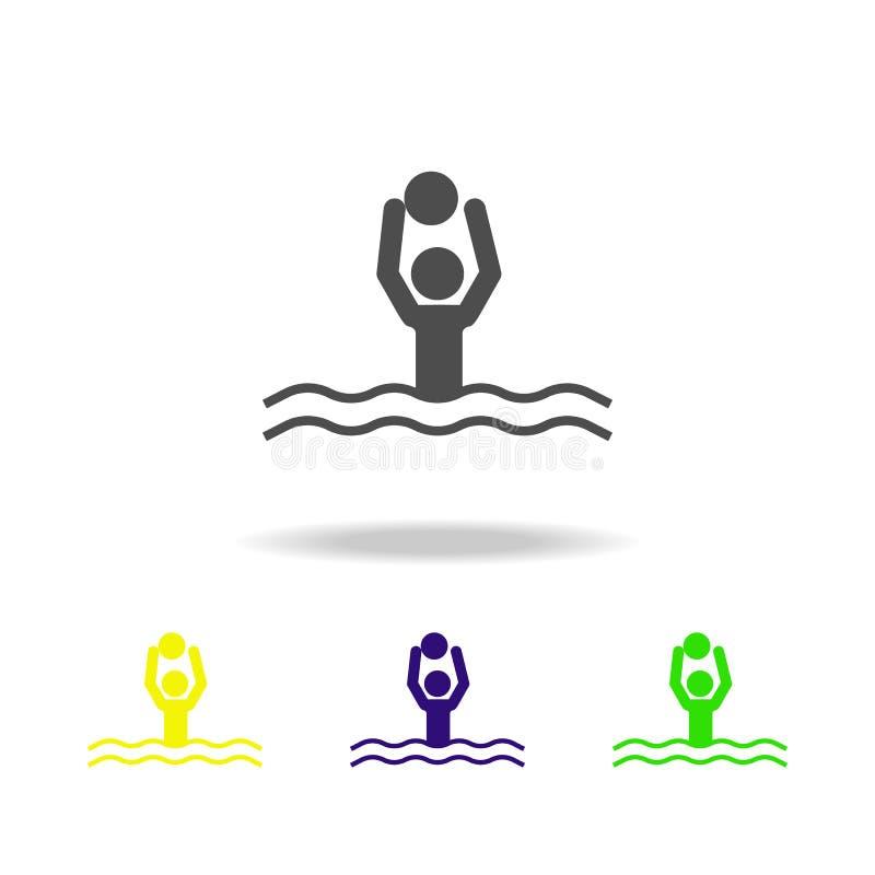 wodnego polo stubarwne ikony Element sport stubarwne ikony Może używać dla sieci, logo, mobilny app, UI, UX ilustracja wektor
