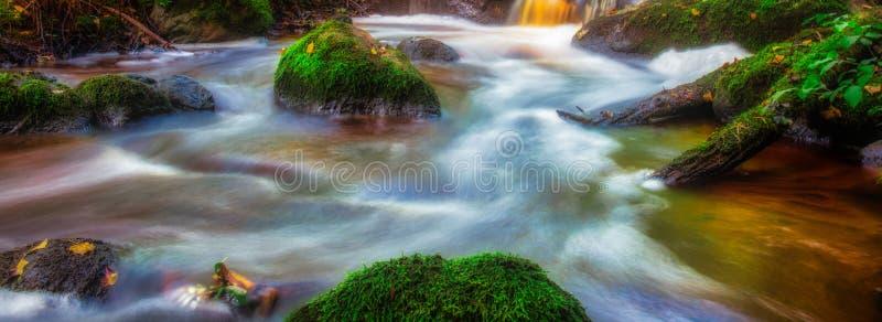 Wodnego spływania ujawnienia sztandaru długa panorama obrazy stock