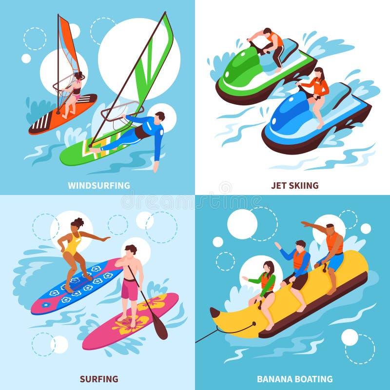 Wodnego sporta 2x2 projekta pojęcie ilustracji