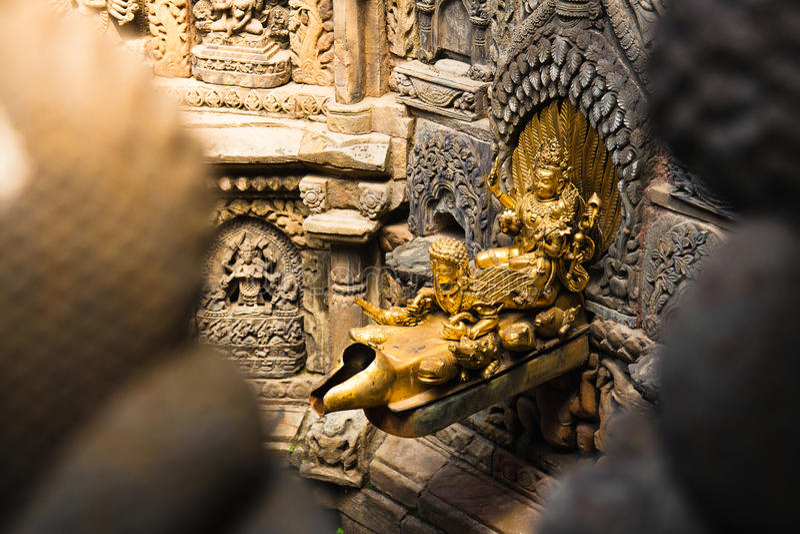 Wodnego Spout Patan Durbar kwadrat obrazy royalty free