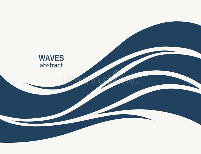 Wodnej fala loga abstrakcjonistyczny projekt Kosmetyk kipieli sporta logotyp c royalty ilustracja