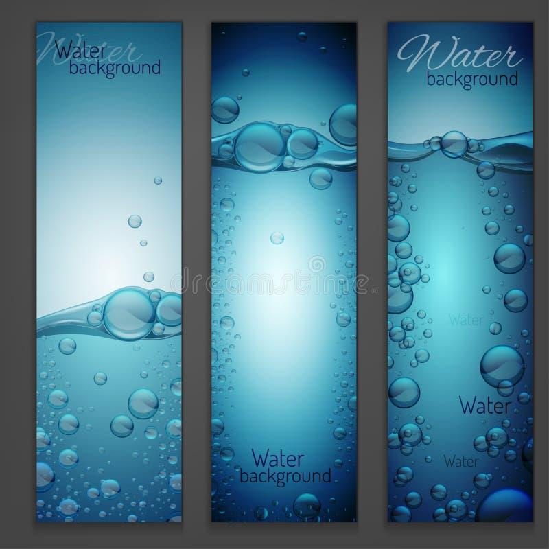 Wodnej fala sztandary ilustracja wektor