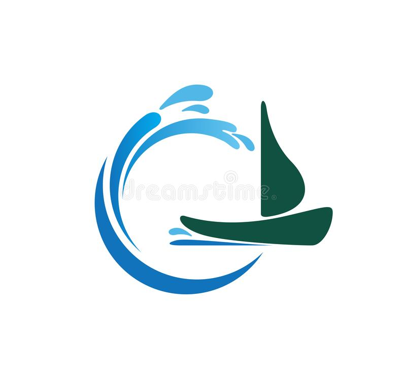 Wodnej fali spash symbol z łódkowatym ikona logo szablonem Abstrakt, żegluje ilustracja wektor