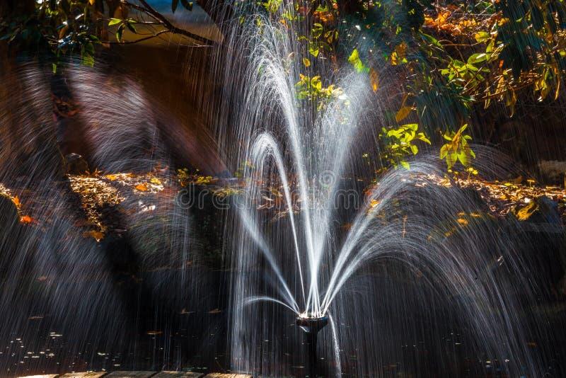 Wodnej fontanny zbliżenie w ogródzie w jesieni fotografia stock