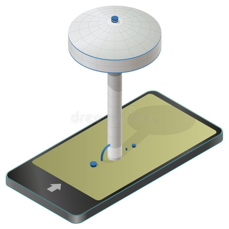 Wodnej kolumny rezerwuar, isometric budynek informaci grafika Filar spłuczki dostawa w telefonie komórkowym royalty ilustracja