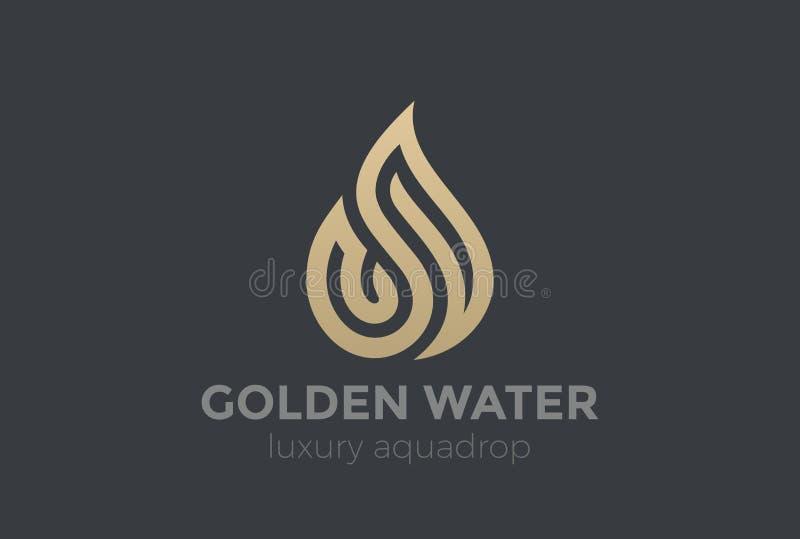 Wodnej kropelki logo złota kropli projekta wektorowy Aqua Fi ilustracji