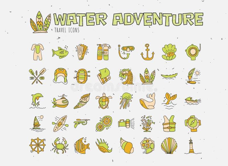 Wodnej przygody ręki remisu ikony wektorowy set Nurkować, flisactwo, kayaking i surfujący ikony w cartooning doodle stylu ilustracji