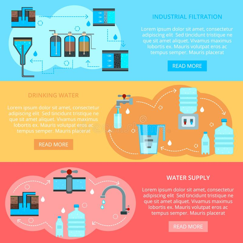 Wodni Cleaning mieszkania sztandary ilustracja wektor