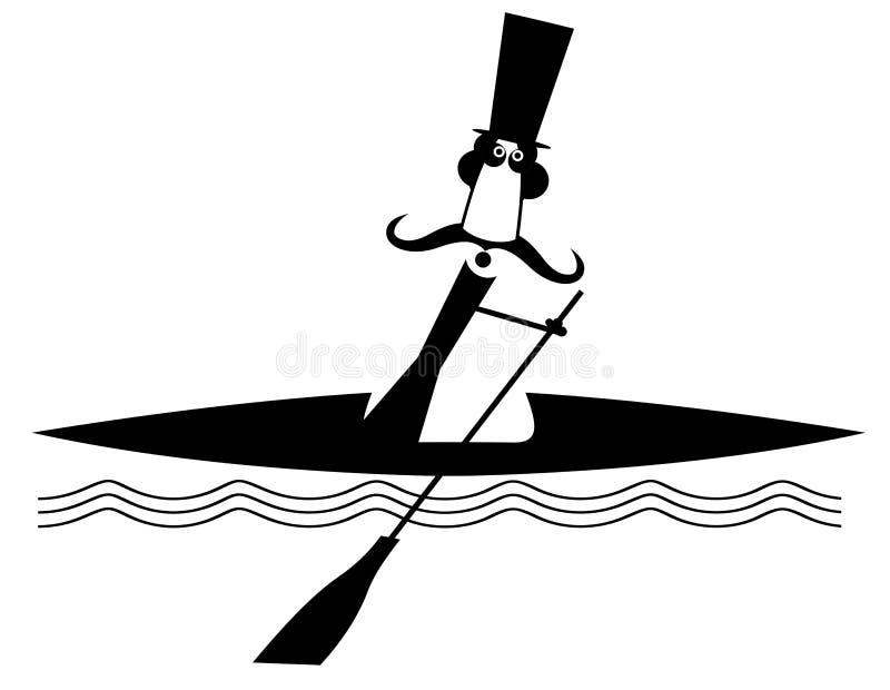 Wodniactwo wąsy mężczyzny długa ilustracja ilustracja wektor