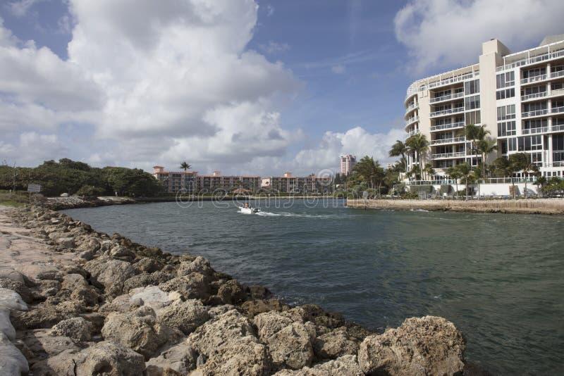 Wodniactwo w Boca Raton wpuscie Floryda obraz royalty free