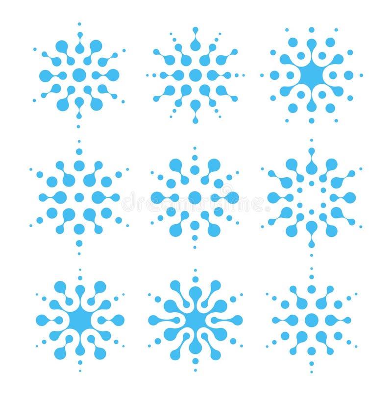 Wodny abstrakcjonistyczny ikona set Lotniczy uwarunkowywać i czyści znaki Lotnicza wilgotności błękita insygnia Ciekły logo, kszt royalty ilustracja