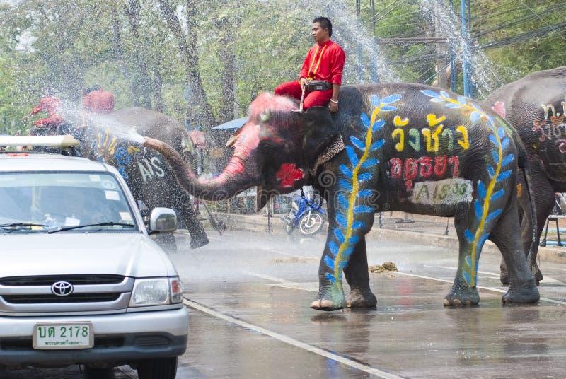 Wodny chełbotanie festiwal w Tajlandia zdjęcia royalty free