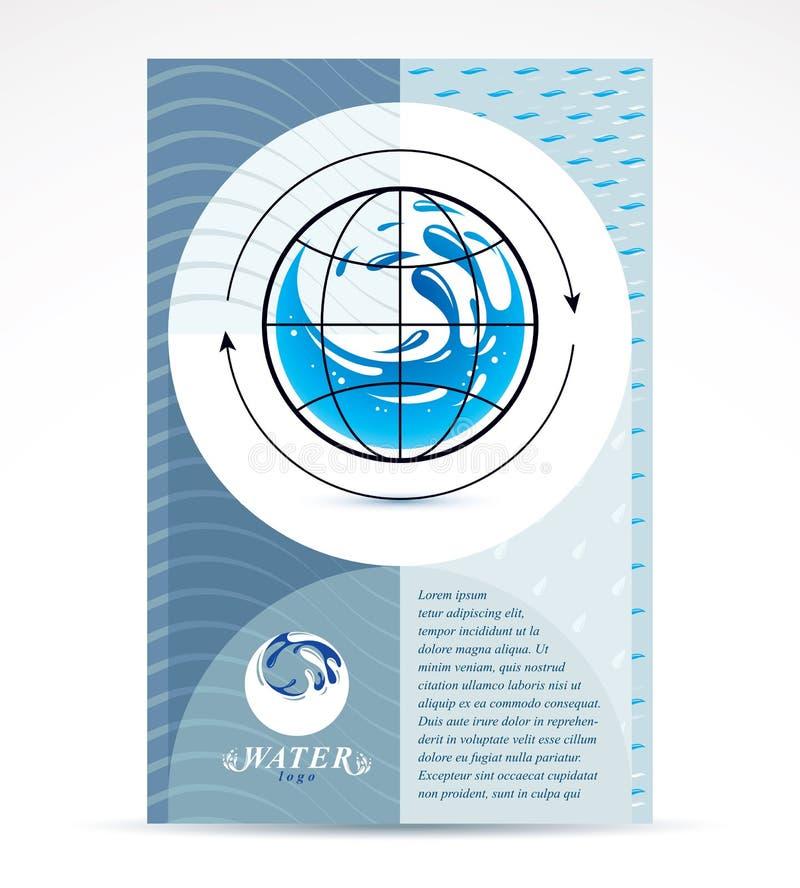Wodny dor?czeniowy biznesowy korporacyjny ulotka szablon Graficzna Wektorowa ilustracja Globalnej wodnej cyrkulacji konceptualny  ilustracja wektor