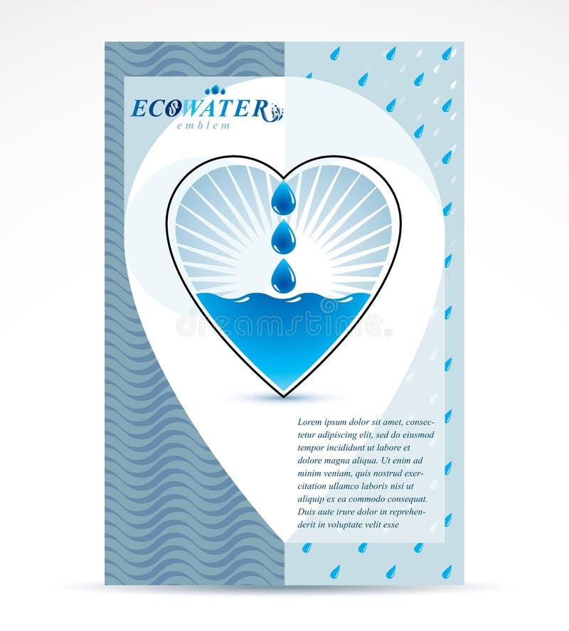 Wodny filtracyjny temat broszury pokrywy projekt, strona tytułowa Czysty aq ilustracji