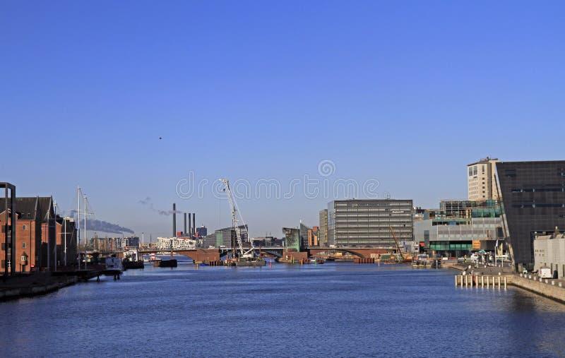 Wodny kanał w duńskim kapitale Kopenhaga obraz royalty free