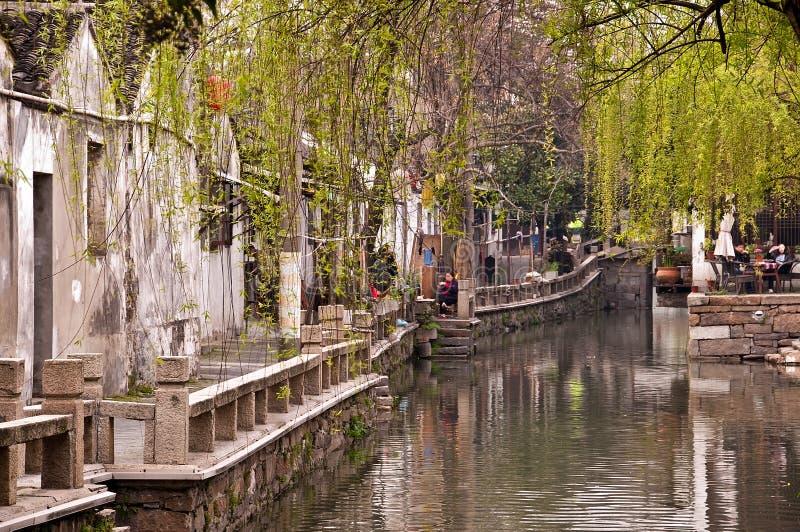 Wodny kanał w Suzhou blisko Szanghaj Chiny zdjęcie stock