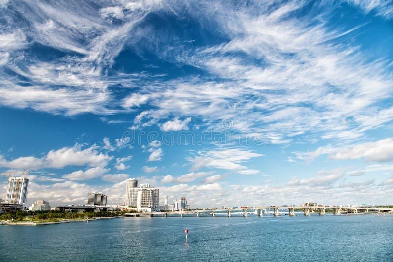 Wodny kanał z mostem i domy na chmurnym niebieskim niebie fotografia stock