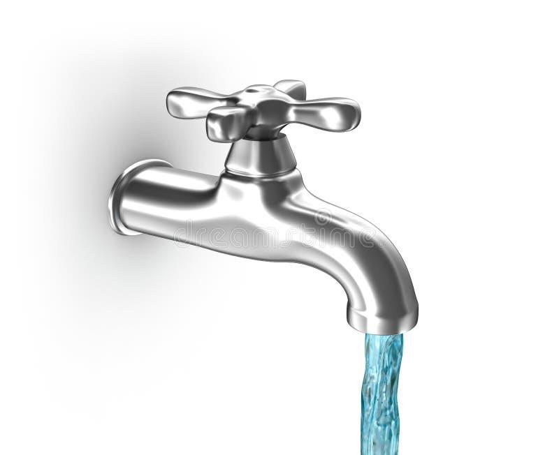 Wodny klepnięcie z wodą bieżącą ilustracji