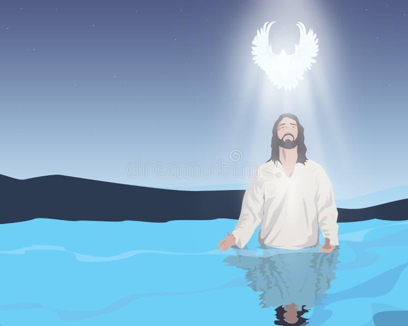 Wodny ochrzczenie jezus chrystus royalty ilustracja