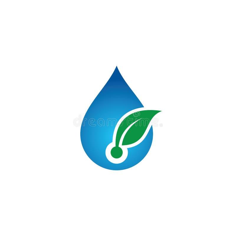 Wodny opadowy liścia eco logo ilustracji
