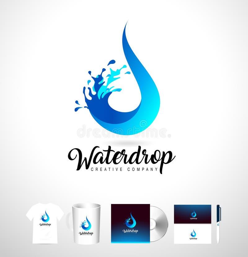 Wodny opadowy logo Wektor wody kropli projekt z pluśnięciem ilustracji