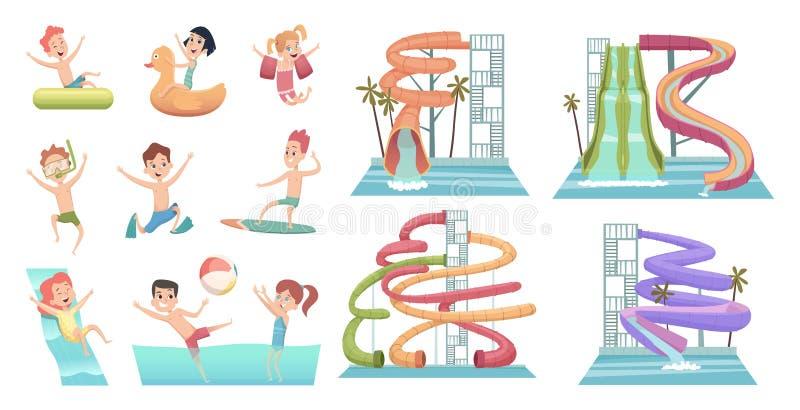 Wodny park Basenów obruszeń aqua przyciągania dla dzieciaków pływa szczęśliwych charakterów i skacze pływają pierścionku wektoru  ilustracji
