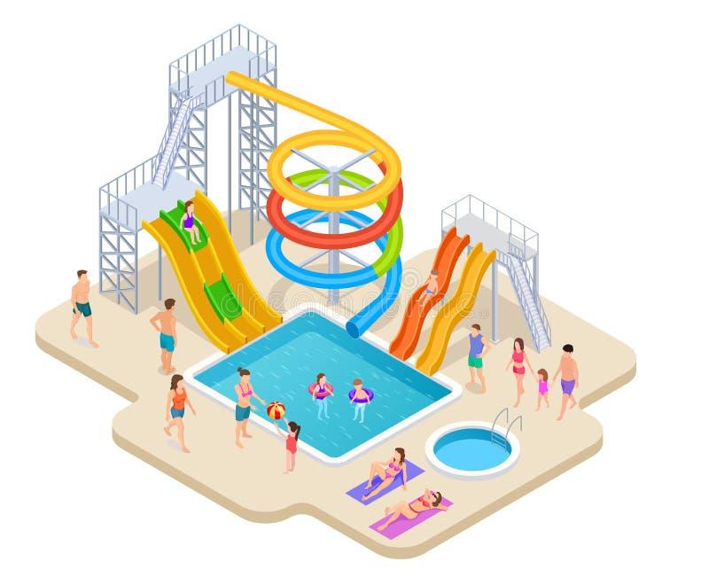 Wodny parkowy isometric Aquapark dzieciaki ślizgają się waterslide aqua lata aktywność basenu czasu wolnego rekreacyjną grę royalty ilustracja