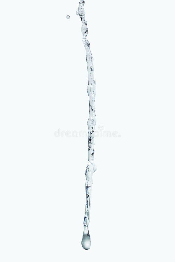 Wodny pluśnięcie strumień odizolowywa Na białym tle zdjęcia stock